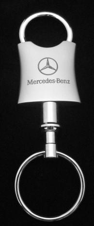 Mercedes Key Chain Dual Ring Silver